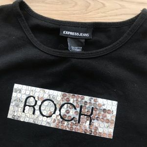 Express | Vintage Sequin ROCK Muscle Tee
